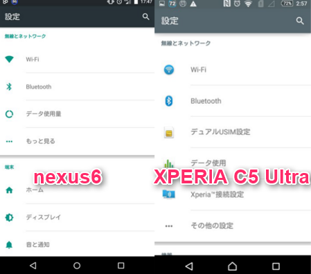 XPERIA C5 Ultraの文字が大きい