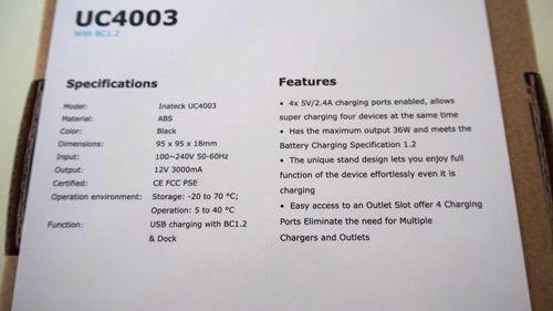 Inateck 36W 4ポート USB急速充電器 スタンド機能付き ACアダプタ付