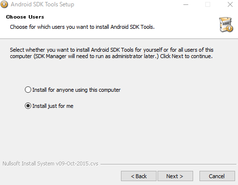 Android SDK インストール