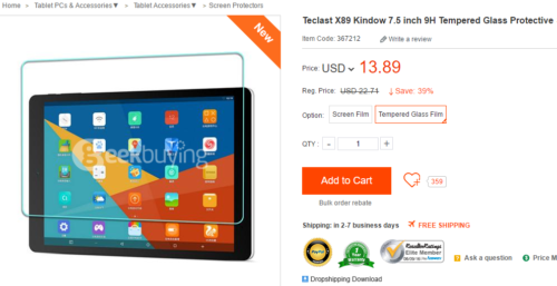Teclast X89 Kindow 7.5 inch 9H Tempered Glass Protective Screen Film