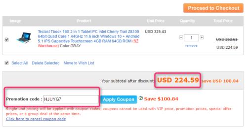 TECLAST Tbook 16S クーポンコード