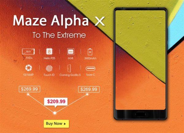 【今だけ210ドル】Helio P25搭載6インチ3面狭額縁で縦長ディスプレイ『MAZE Alpha X』発売!