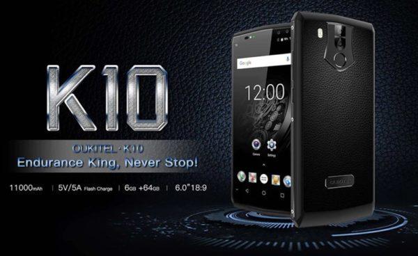 11000mAhバッテリー搭載『OUKITEL K10』発売!背面牛革仕様+クアッドカメラ+HelioP23などてんこ盛り