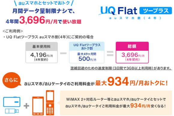 UQ WiMAX UQ Flat ツープラスauスマホ割