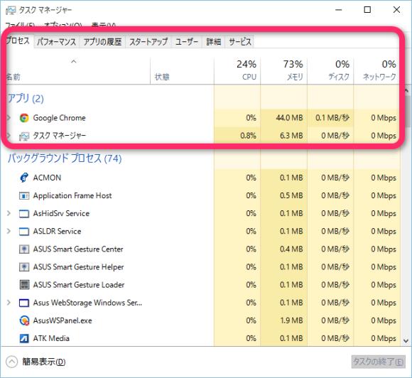 ASUS X205TAのWindows10 メモリ使用量
