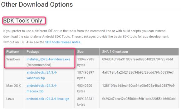 Android SDKのインストール方法