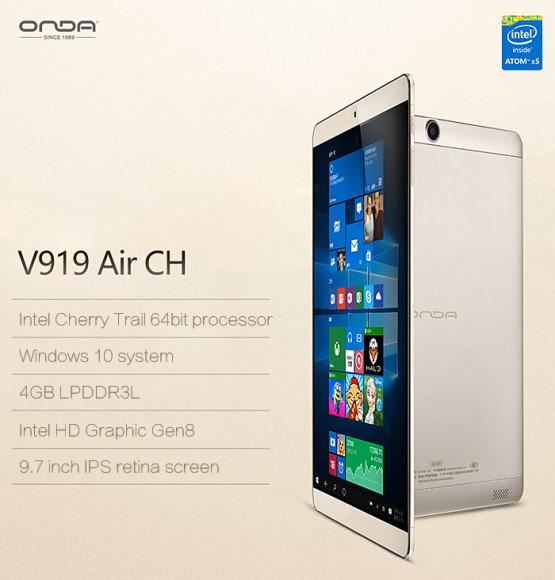 【セールより安くなるクーポン追加】4GB RAM/64GB ROM搭載 Win10+Cherry Trail搭載強力タブレット『Onda V919 Air CH』