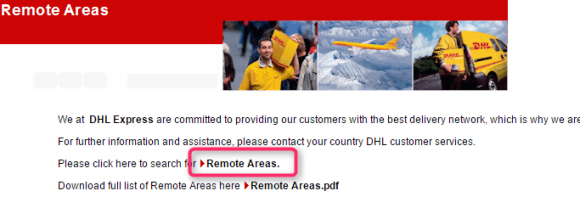 DHL remote area