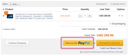 Geekbuying PayPal
