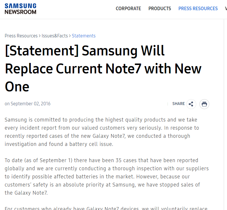 Samsung 『Galaxy Note 7の全端末交換リコール』を正式発表。グローバルで35件爆発!
