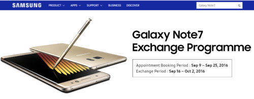 Galaxy Note7 exchange program