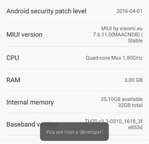 Xiaomi Mi5 デベロッパーモード
