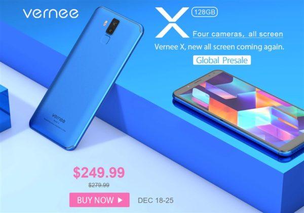 【6GB版が249.99ドル】前後2つのクアッドカメラ搭載『Vernee X』発売! 4G DSDSで6200mAhバッテリー搭載