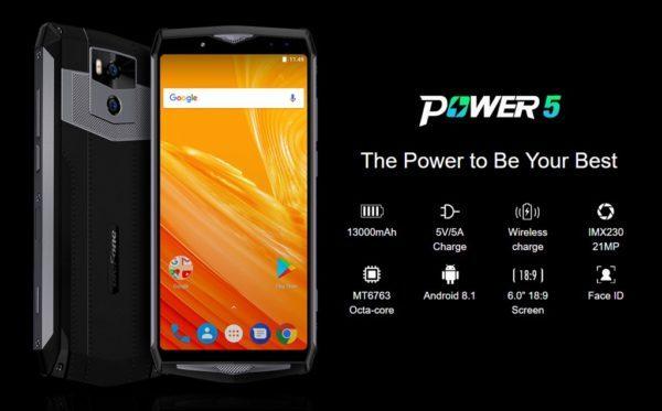 13000mAhと超大容量になった『Ulefone Power5』発売! 急速充電に無線充電、前後ダブルレンズカメラも搭載