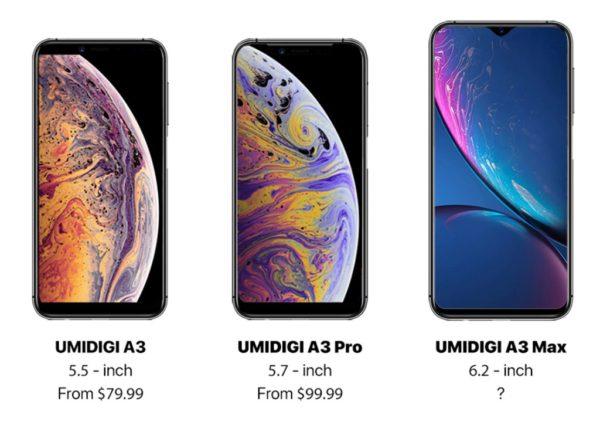 iPhone Xs? Xs Max? いえいえ「UMIDIGI A3/A3 Pro/A3 Max」です