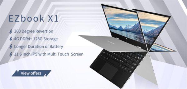 【送料込み249.99ドル!】1kgの廉価なYOGAタイプ 11.6インチノートPC『Jumper EZbook X1』発売中~eMMC+SSDのデュアルストレージ