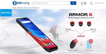 Geekbuyingで「Ulefone ARMOR 6」プロモーション開催中~359.99ドルで無線充電器と保護フィルム付き