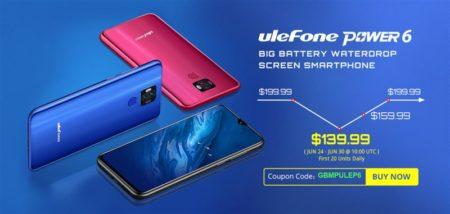 【期間限定139.99ドル】6350mAhの大容量バッテリー搭載「Ulefone Power 6」発売~遂に4G プラチナバンド対応