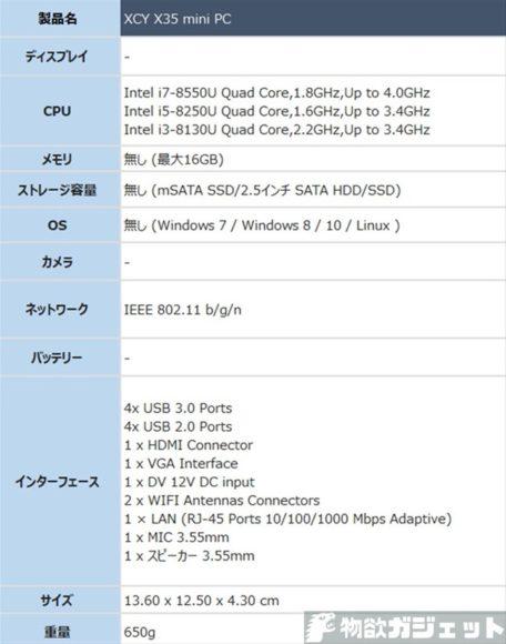 XCY X35 mini PC 価格 スペック ベアボーン