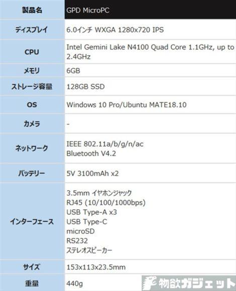 GPD MicroPC 価格 スペック UMPC