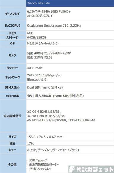 Xiaomi Mi 9 Lite 価格 スペック 特徴