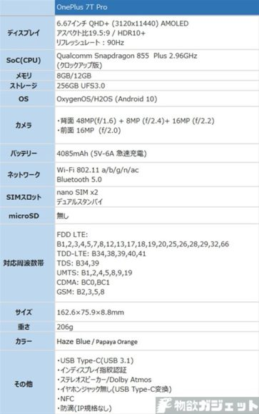 OnePlus 7T Pro 価格 スペック