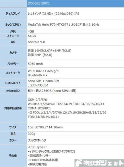 DOOGEE S90C mod タフネススマホ 価格 スペック