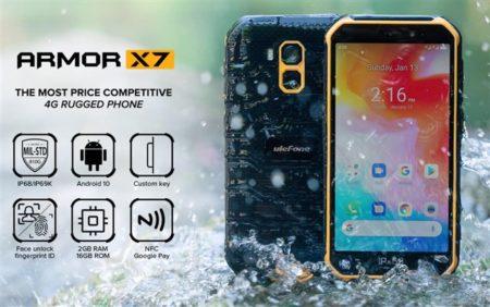 【89.99ドルクーポン追加】小型5インチ/4G B19対応タフネススマホ「Ulefone ARMOR X7」発売~エントリー向けで約1.2万円とリーズナブル