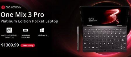 8.4インチUMPC「OneNetbook OneMix3 Pro プラチナエディション」発売~Core i7 10510Y/16GB/512GB SSD搭載のハイエンド&超コンパクトノートPC