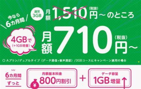 mineoで「800円割引+データ容量1GB増量 x6ヶ月」キャンペーン開催中~4GB 音声回線が710円~