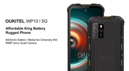 AnTuTu 30万点のDimensity 800搭載5G対応タフネススマホ「OUKITEL WP10」発表~大画面/大容量バッテリー/4Gプラチナバンド対応