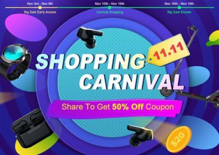 TOMTOP で「11.11独身の日セール」の事前セールがスタート!Feiyu Pocket、Amazfit Neoなどが激安に!クーポンやラッキードローもあるぞ