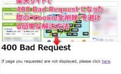 楽天トラベルなどで「400 Bad Request」表示解決方法~楽天だけのCookie削除が楽ちん