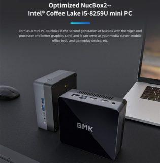 【約350ドルに!】12cm角にCore i5-8259U CPUを搭載した超小型ミニPC『GMK NucBox2』が発売中~この小ささで8GB+256GB SSD搭載しRAM/SSD増設も可能