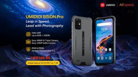 タフネススマホ「UMIDIGI BISON Pro」が正式発表~SONY 48MPカメラ/Helio G80/赤外線体温計搭載で149.99ドルから