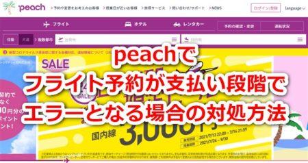 Peach(ピーチ)航空の予約時「入力エラーがあります」とシステムエラーが出る際の解決方法