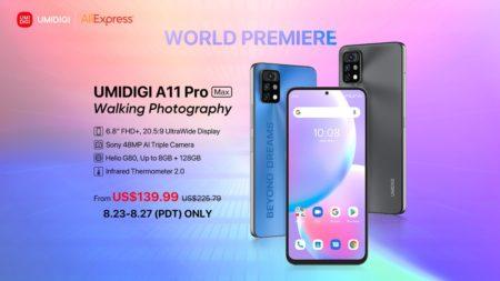 新発売された「UMIDIGI A11 Pro Max」がAliExpressでグローバルセールを開始!価格は期間限定で139.99ドルから
